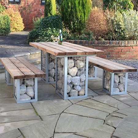 HOME DZINE Garden | Gabion-style outdoor table set: