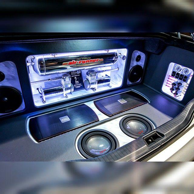 One Loud Page car audio custom install trunk amp rack unique enclosure plexiglass logo fiberglass plexi acrylic airride accu air compressor
