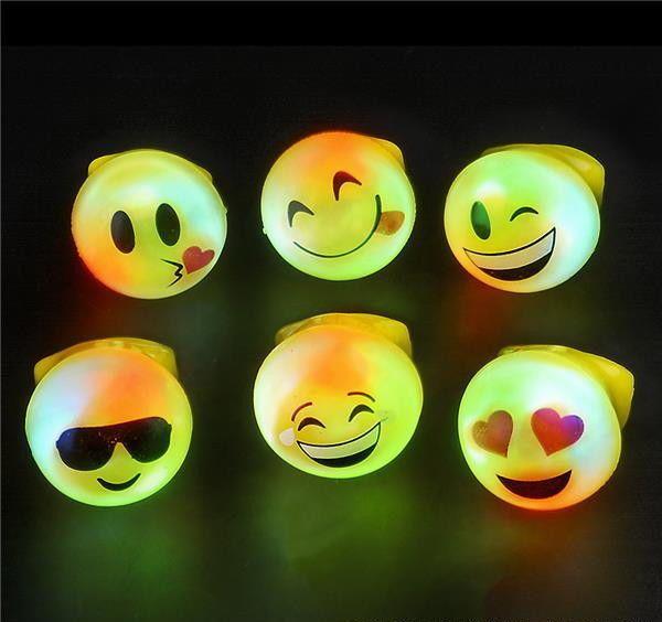 12 Led Luz Intermitente emoji Anillos emoticones Jelly Anillo Cotillón Carnaval