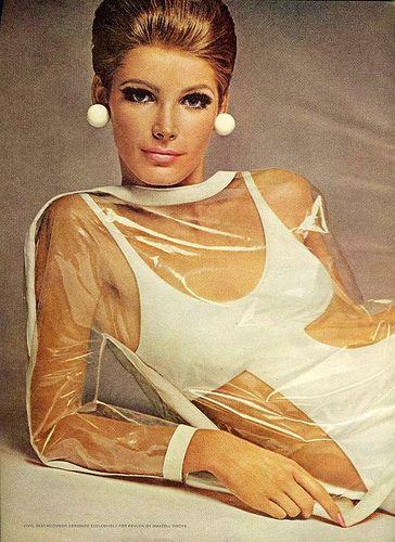Plastic Dress, 1966. vintage fashion style color photo print ad model magazine clear white bikini dress space age 60s