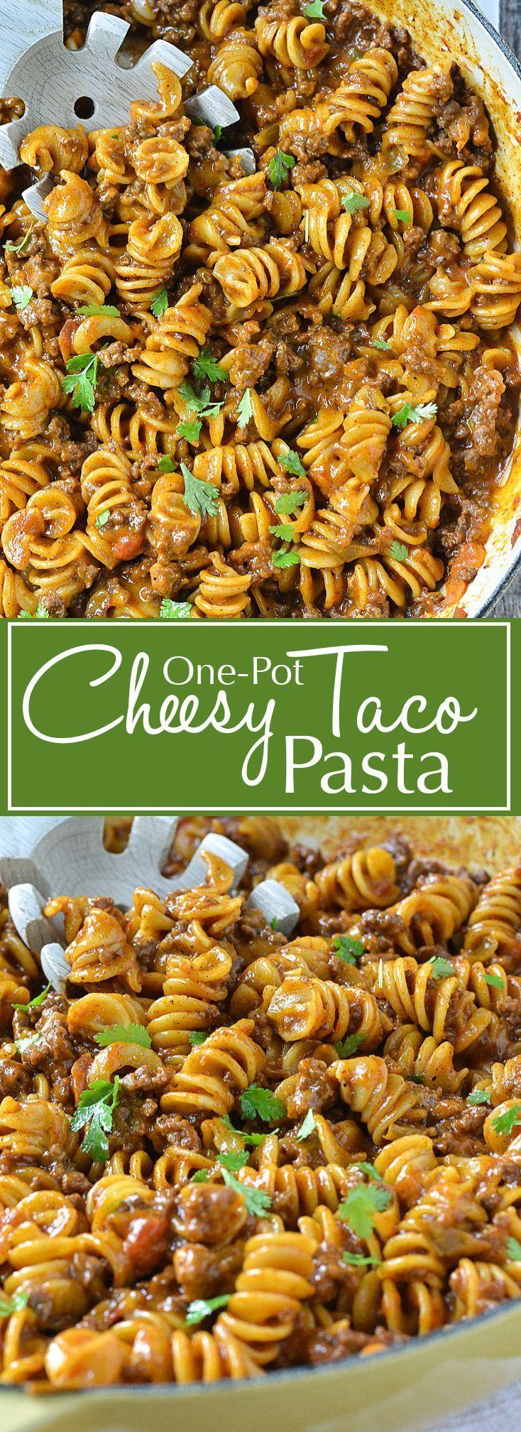 One-Pot Cheesy Taco Pasta   http://www.motherthyme.com