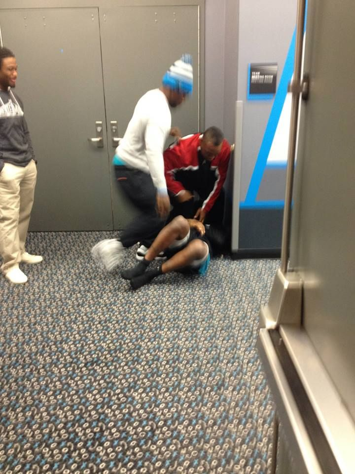 Mike Tolbert and Tavarres King in a tickle fight