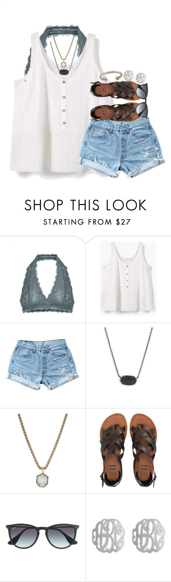 """""""what's ur biggest plan 4 the summer?"""" by syd-em ❤ liked on Polyvore featuring Free People, MANGO, Levi's, Kendra Scott, Billabong, Ray-Ban, Initial Reaction and David Yurman"""