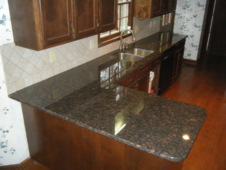 Tan brown granite countertops with 4 x 4 rialto beige Tan kitchen backsplash