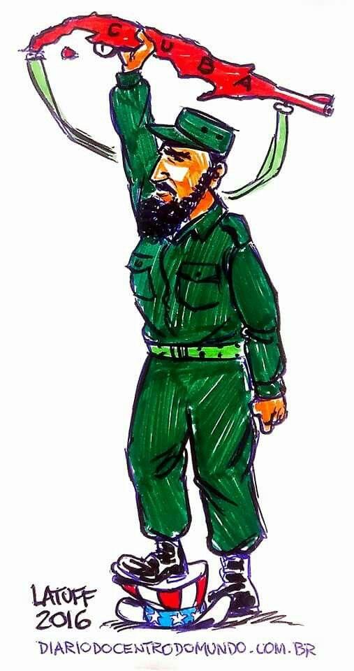 "Carlos Latuff On Fidel Castro's Passing ""Hasta Pronto, Comandante Fidel Castro!"" Via Diário do Centro do Mundo"