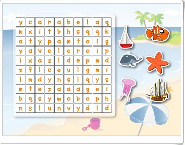 Sopa de letras de vacaciones de verano (Kandoo.es)