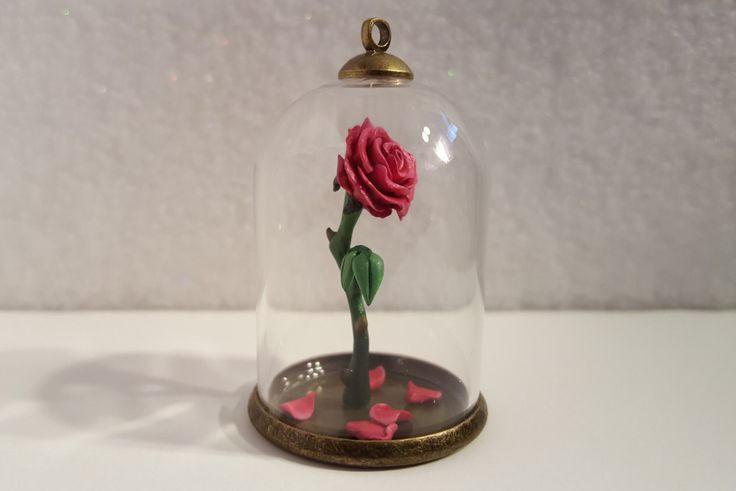 Beauty And The Beast Red Rose LED Light With Fallen Petals
