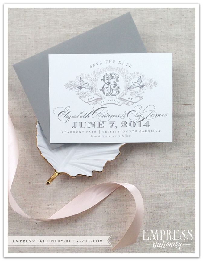 save the date wedding stationery uk%0A Elizabeth   Eric Save the Dates   Monogram Save the Dates   Empress  Stationery