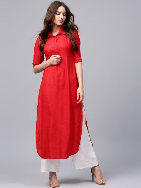 17c9b3288fa Buy Libas Women Red Self Design Pathani Kurta - Kurtas for Women 1925151