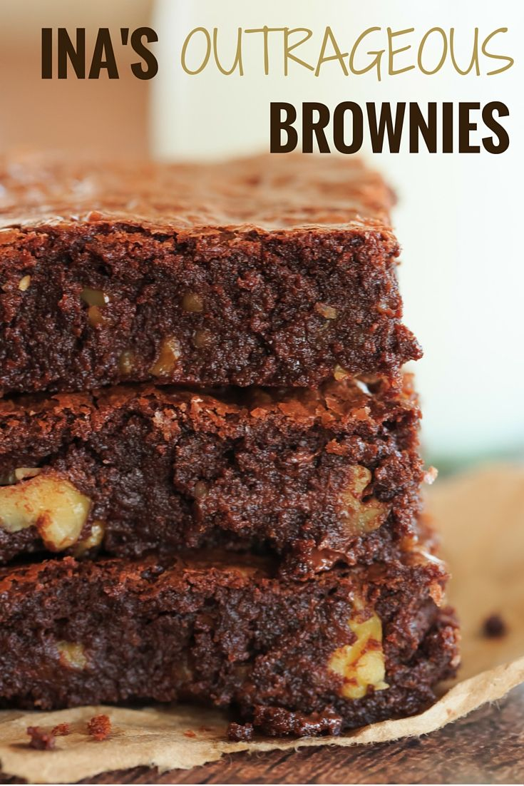Ina's Outrageous Brownies - The super rich brownie brainchild of Ina Garten, complete with tons of chopped walnuts!