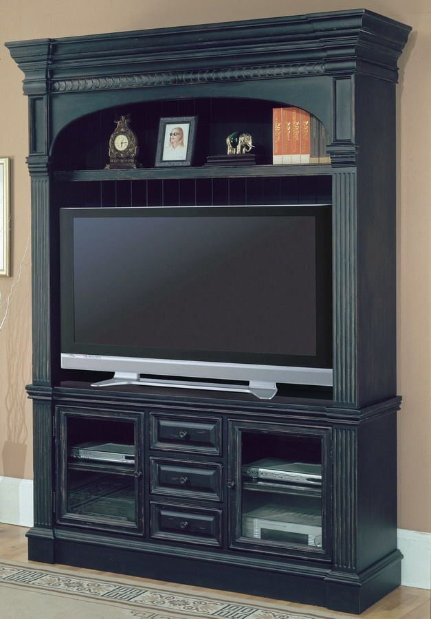 Parker House Venezia 3pc Entertainment Center -      Style: Italian Country     Finish: Vintage Black with Distressing and sand thru with hand applied accents     Materials: Poplar solids with Birch Veneers