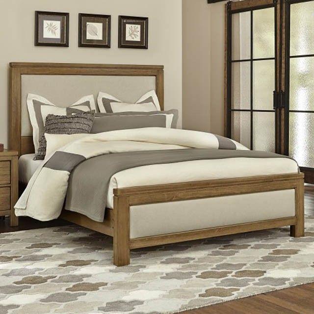 Kismet Rustic Maple Upholstered Bed