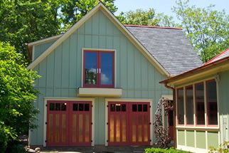 Craftsman Traditional Carriage Doors w/ copper panels