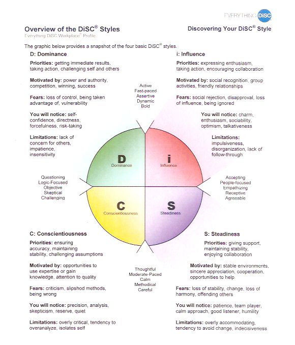 What are the priorities, motivators, fears, limitations and characteristics of the four DiSC styles? Here is a visual snapshot of the four DiSC styles answering those very questions.