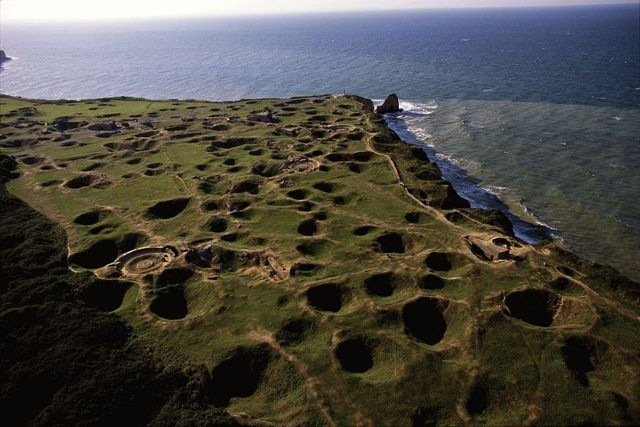 Pointe du Hoc. Omaha Beach, pockmarked by D-Day bombardment.