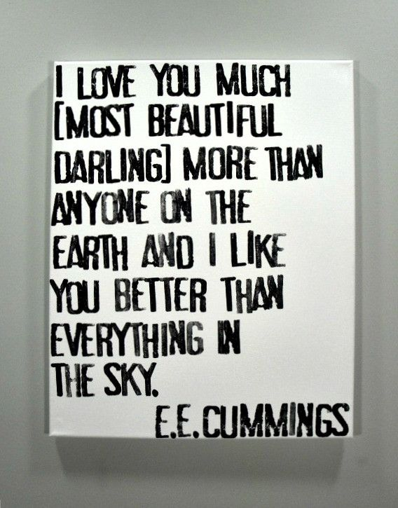 I Love You Much - E.E. Cummings Poem on Canvas