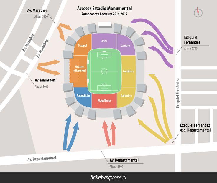 Accesos Estadio Monumental para partidos de Colo-Colo.  Campeonato de Apertura 2014-2015.