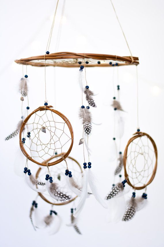 Large Dreamcatcher Mobile with 3 smaller dreamcatchers attached, perfect for a babys nursery!  Looking for a different style? Check out my entire