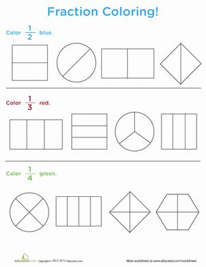 First Grade Fractions Worksheets: Fraction Coloring