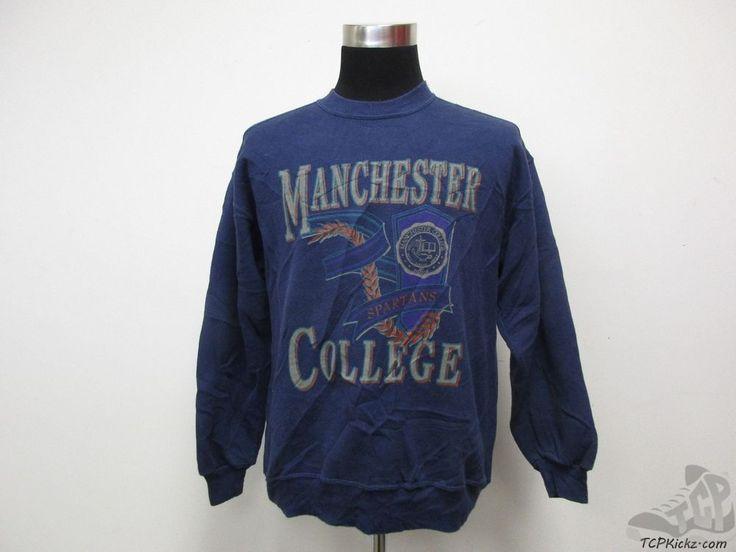 Vtg 90s Gear Manchester College Spartans Crewneck Sweatshirt sz L Large Blue  #Gear #ManchesterSpartans #tcpkickz
