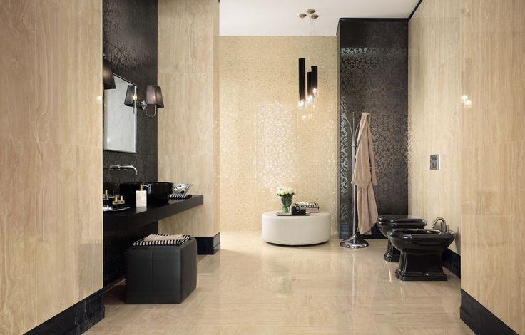 Transitional Master Bathroom with Bidet, Pendant light, Glam Gala Arabesque Architonic id 1100239, Vessel sink, High ceiling