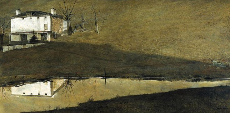 """Andrew Wyeth (1917 — 2009, USA) """"Brown"""" Swiss. 1957 tempera on panel. 30 x 60 1/8 in. (76,2 x 152,7 cm.) © Andrew Wyeth"""