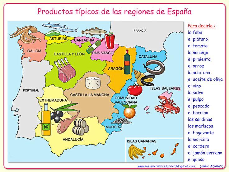Me encanta escribir en español: la alimentación - Typical foods produced in Spain by region