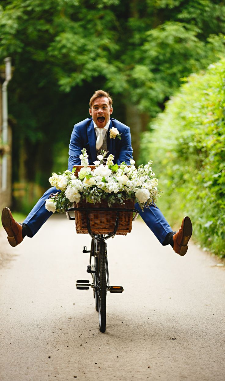 Bicycle Flowers Blooms Basket Decor Peonies & Bikes Fun Country House Wedding http://hbaphotography.com/
