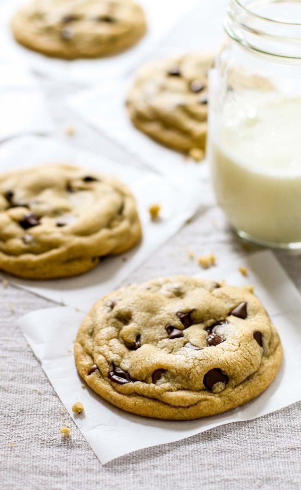 Soft Chocolate Chip Cookies are soft, thick, bricks of chocolate chunks and buttery dough baked into a heavy, milk-loving cookie