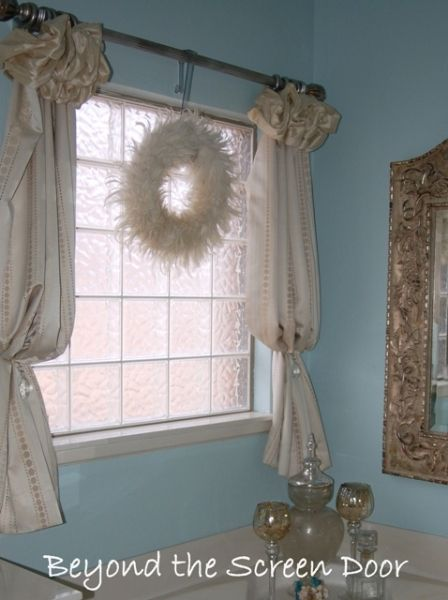 poof top below sill length panel gathered and gently ballooned - Bathroom Curtains