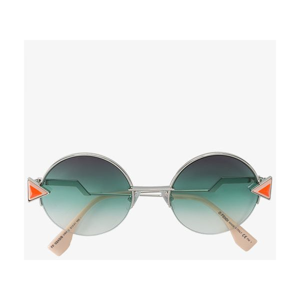 Fendi Triangle Detail Round Sunglasses (18,985 PHP) ❤ liked on Polyvore featuring accessories, eyewear, sunglasses, fendi, round sunglasses, geometric glasses, fendi glasses and multi colored sunglasses