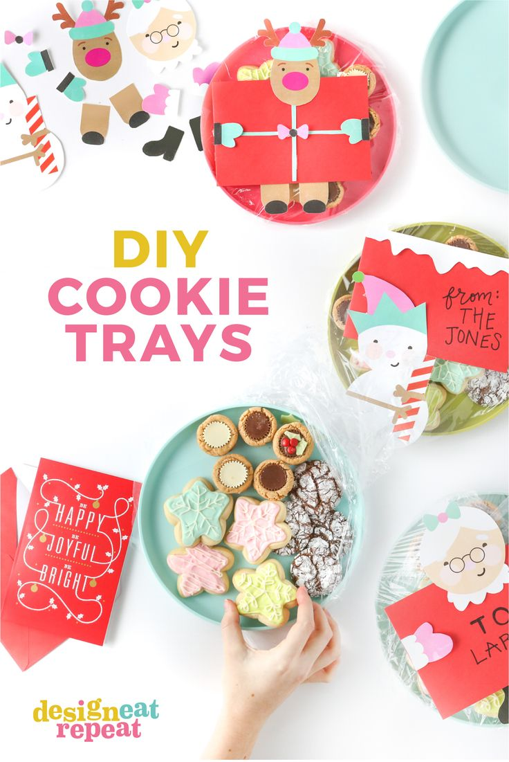 Create homemade holiday treats for neighbors, friends, and family with  these fun DIY cookie tray ideas! Simply attach the free printables to  store-bought ...