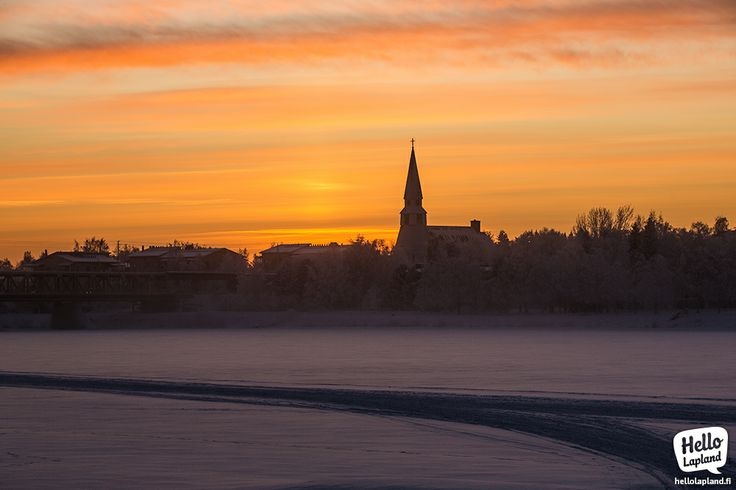 Smooth wintery sunset in Rovaniemi city, Lapland Finland. 24.1.2014.