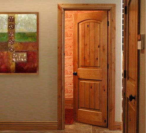 Arch Top Interior Door Made From Knotty Alder Wood
