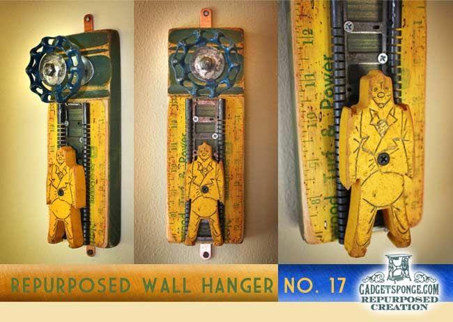 Repurposed Coat Rack Wall Hanger No. 13 by GadgetSponge.com - Repurposing, Upcycling, Birds & Nature: Racks Wall, Coats Racks, Repurpo Coats, Gadgetspong Repurposed, Gadgetspong Wall, Crafts Idea, Coat Racks, Man Caves, Repurposed Coats