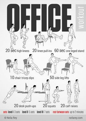 For every 20 minutes of sitting at your desk, get up  pace for 1-5 minutes. Frequent movement boosts concentration  raises your metabolic rate.