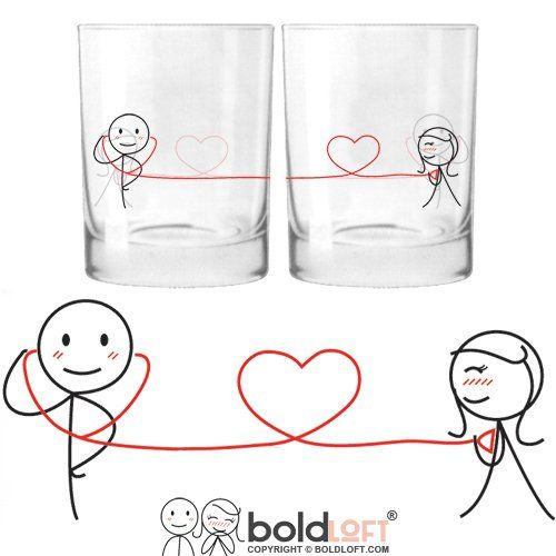 In the morning and throughout the day you can remember the one who has your heart with each sip from these his and hers drinking glasses! One for you and one for your loved one allows you to share your bond even when you're apart!