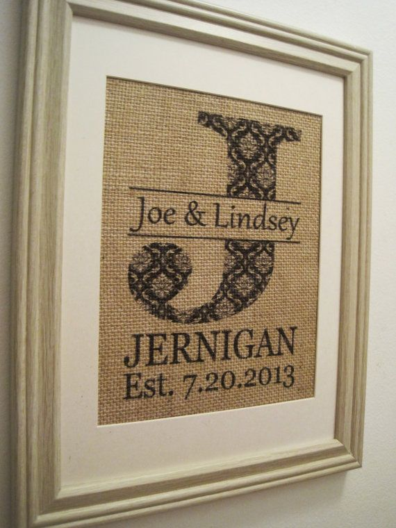 Burlap Wedding Print Burlap Monogram Burlap Art by SunBeamSigns