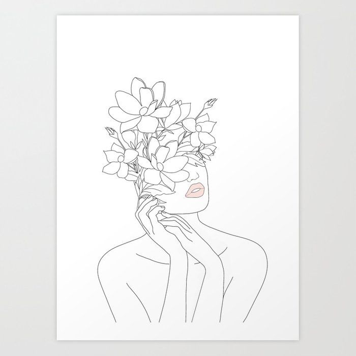 Buy Minimal Line Art Woman with Magnolia Art Print by nadja1. Worldwide shipping… – Teodora Jorascu
