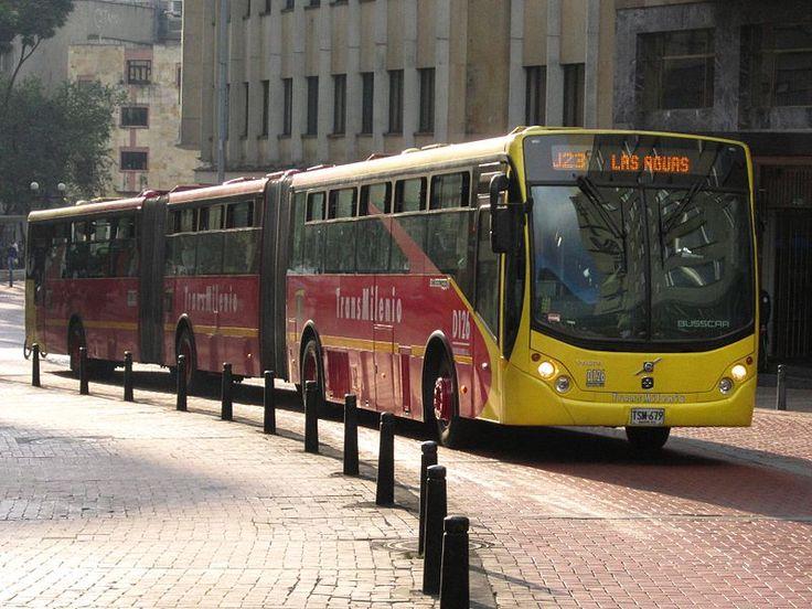 Busscar bi-articulated TransMilenio in Bogota, Colombia.