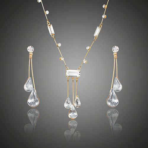 legant Gold Austrian Crystal Water Drop Earrings and Necklace Sets