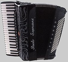 """Super Paolo II    The Super Paolo has been Paolo Soprani's top model for many years and for good reason. This piano accordion has 41 treble keys and 120 basses. There are 4 sets of treble reeds and 5 sets of bass reeds; including 13 treble switches plus master and 7 bass switches. Available in with piccolo reed or musette tuning. Size: 48cm x 19cm x 44cm. Weight: 11.8 kg.    Double-tone chamber """"cassotto"""" model."""