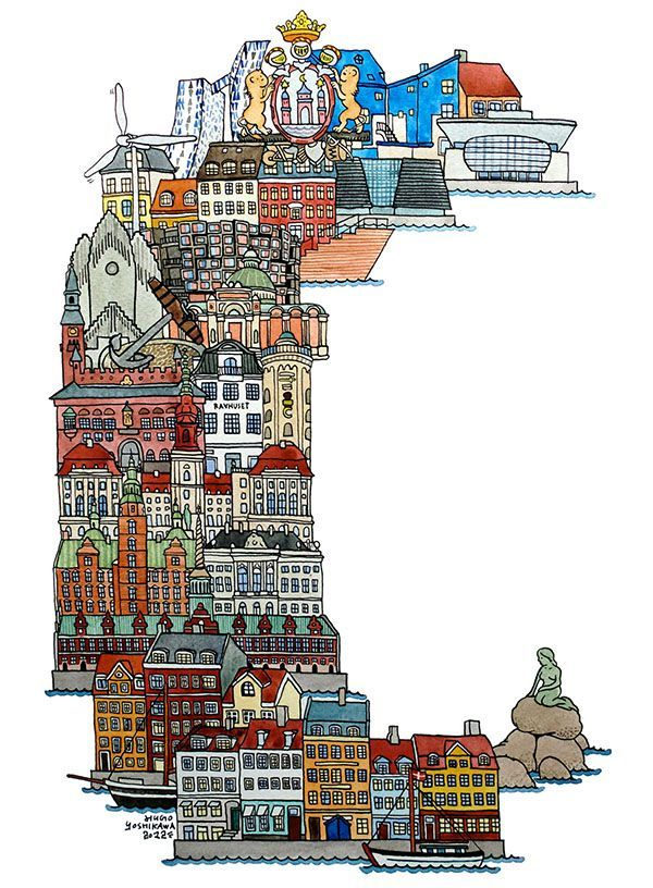 Copenhagen - ABC illustration series of European cities by Japanese illustrator Hugo Yoshikawa