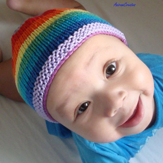 Hand Knitted Cotton Baby Rainbow Beanie and Bootee Set  by MooMush