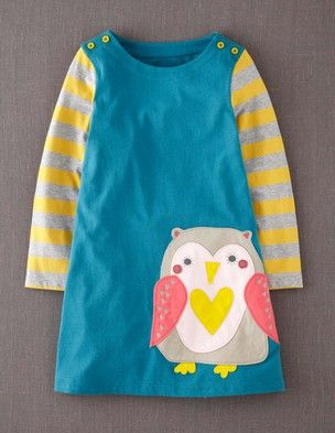 I've spotted this @BodenClothing Fun Appliqué Dress Mallard Owl/// Reminded once again that girls clothes are so much cuter than boys. The fox & dog design are also adorbs!