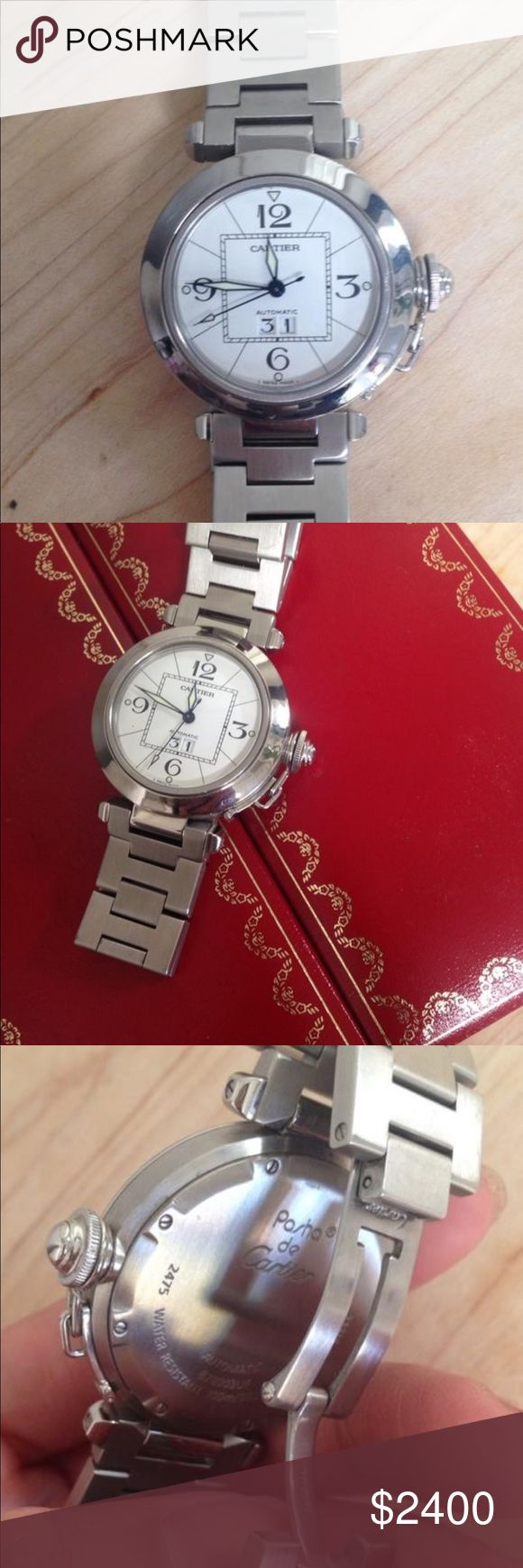 Cartier pasha watch Gorgeous Authentic Cartier pasha watch.  gently used slight scratches but other than that it's in great condition. I don't wear it's been sitting in my drawer for years. It has extra links and the original box no tags or papers. Cartier Accessories Watches