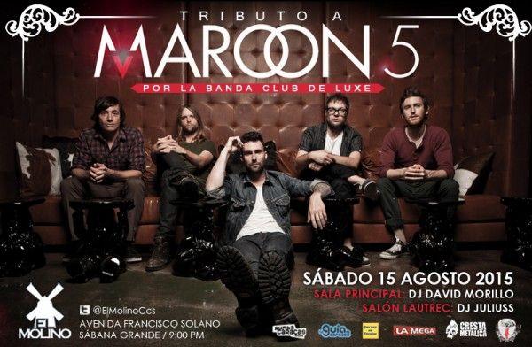 """El Molino presenta: """"CLUB DE LUXE: Tributo a Maroon 5″ http://crestametalica.com/events/el-molino-presenta-club-de-luxe-tributo-a-maroon-5/ vía @crestametalica"""