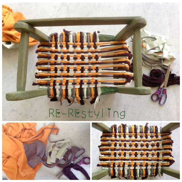 Riuso vecchie magliette per REstyling mini sedia-Design Craft #RIuso#REcupero