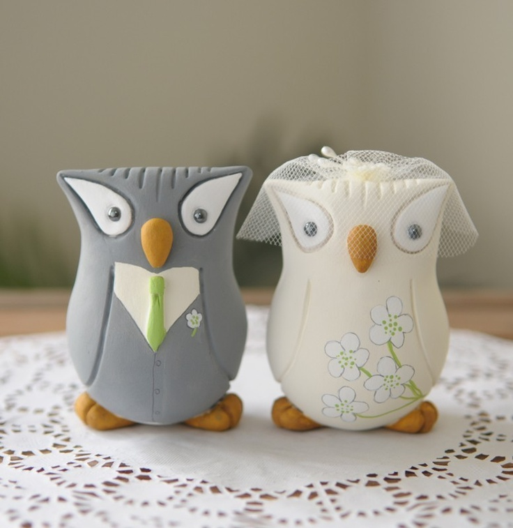 Custom Wedding Cake Topper - Hand Sculpted and Painted Owls. $130.00, via Etsy.