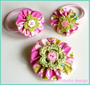 Yo-yo brooches and hair ties by Nicobelle Design